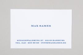 Max Sames Visitenkarten Mit Name Adresse Tel Und Email