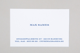 Businesscard with NAME, ADDRESS, TELEPHONE and EMAIL